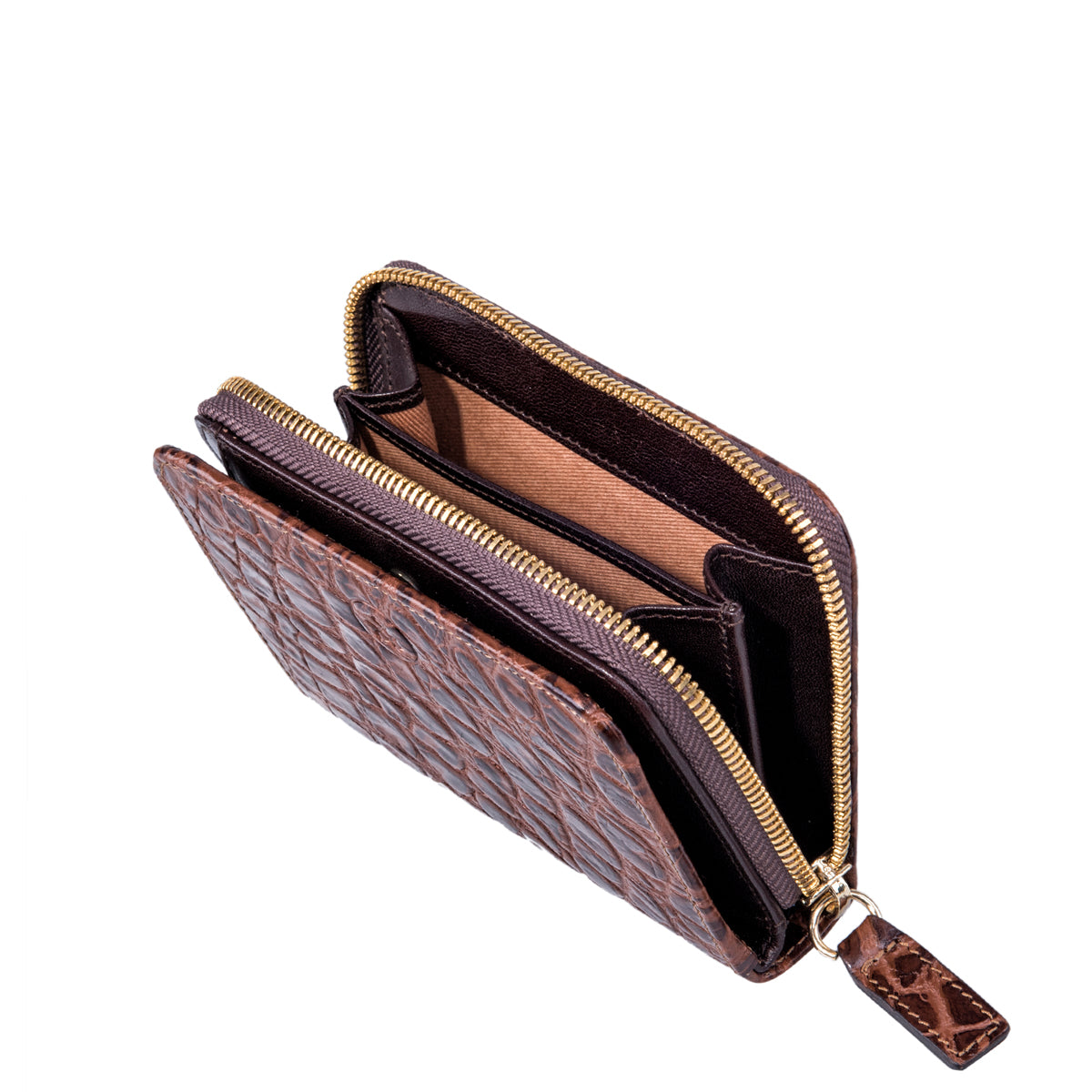 Image 2 of the 'Forino' Chocolate Mock Croc Veg Tanned Leather Purse