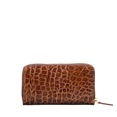 Image 3 of the 'Giorgia' Chocolate Mock Croc Veg-Tanned Leather Zip Purse