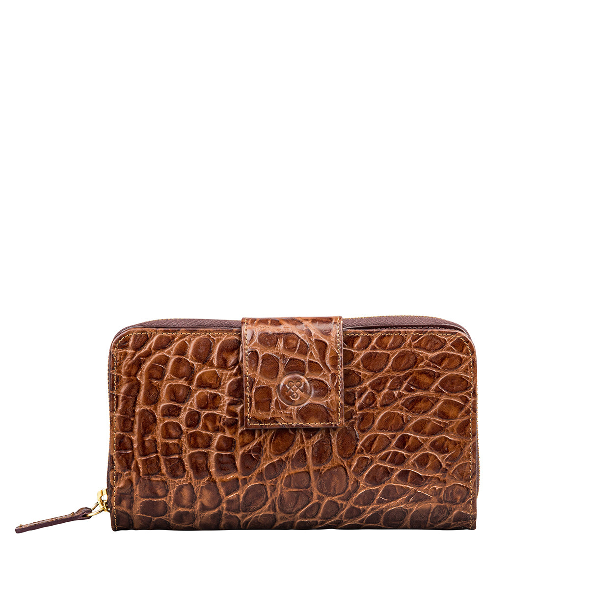 Image 1 of the 'Giorgia' Chocolate Mock Croc Veg-Tanned Leather Zip Purse