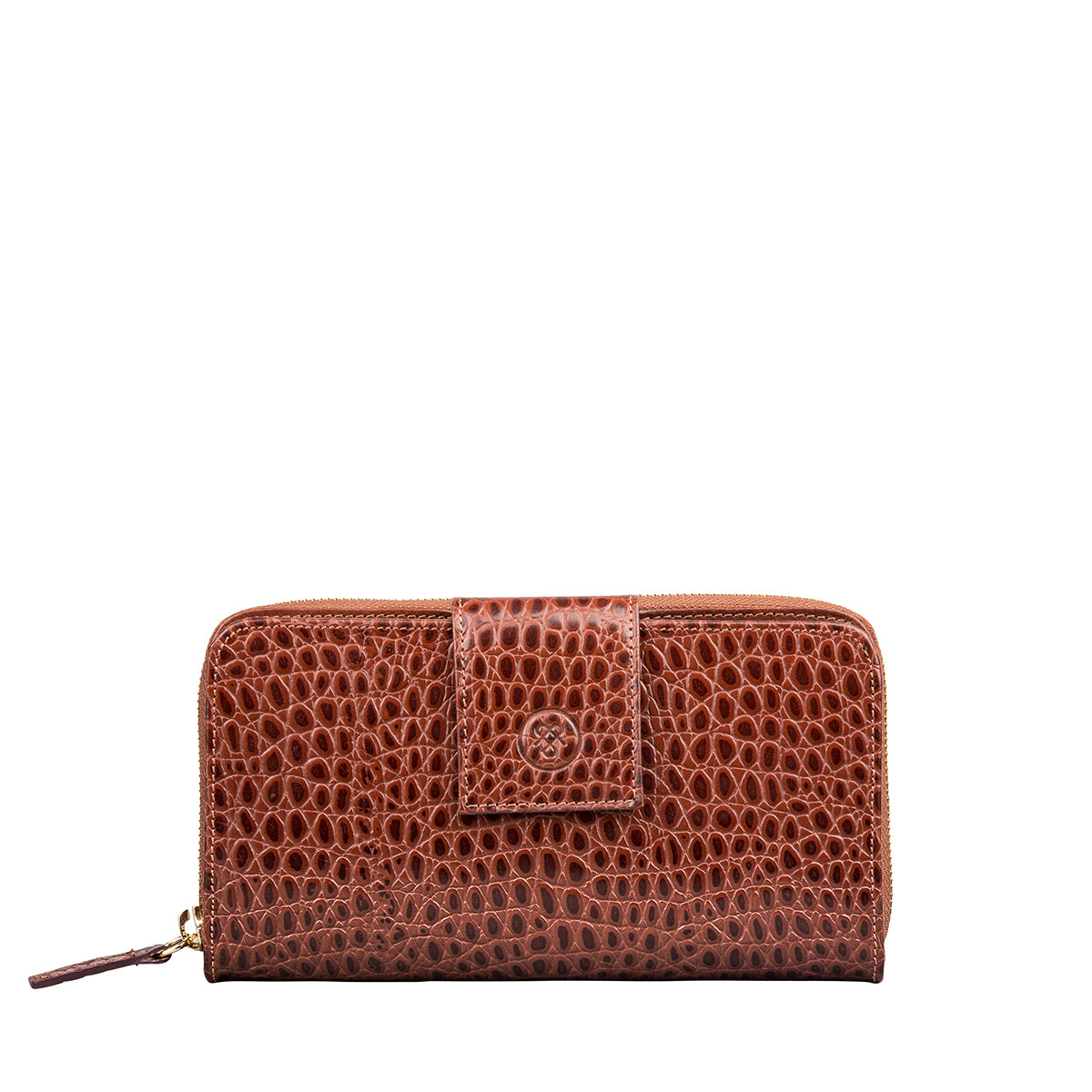Image 1 of the 'Giorgia' Chestnut Mock Croc Veg-Tanned Leather Zip Purse