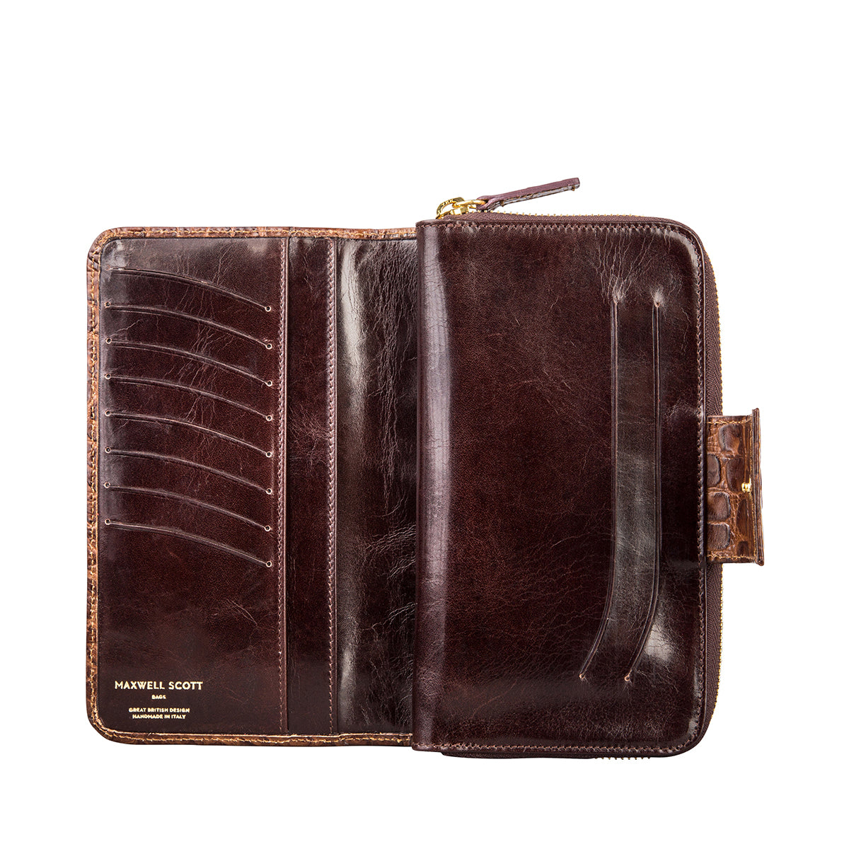 Image 6 of the 'Giorgia' Chocolate Mock Croc Veg-Tanned Leather Zip Purse