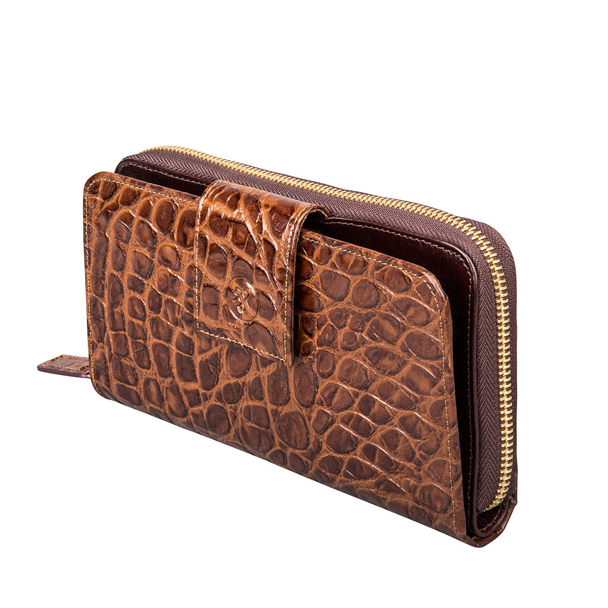 Image 2 of the 'Giorgia' Chocolate Mock Croc Veg-Tanned Leather Zip Purse