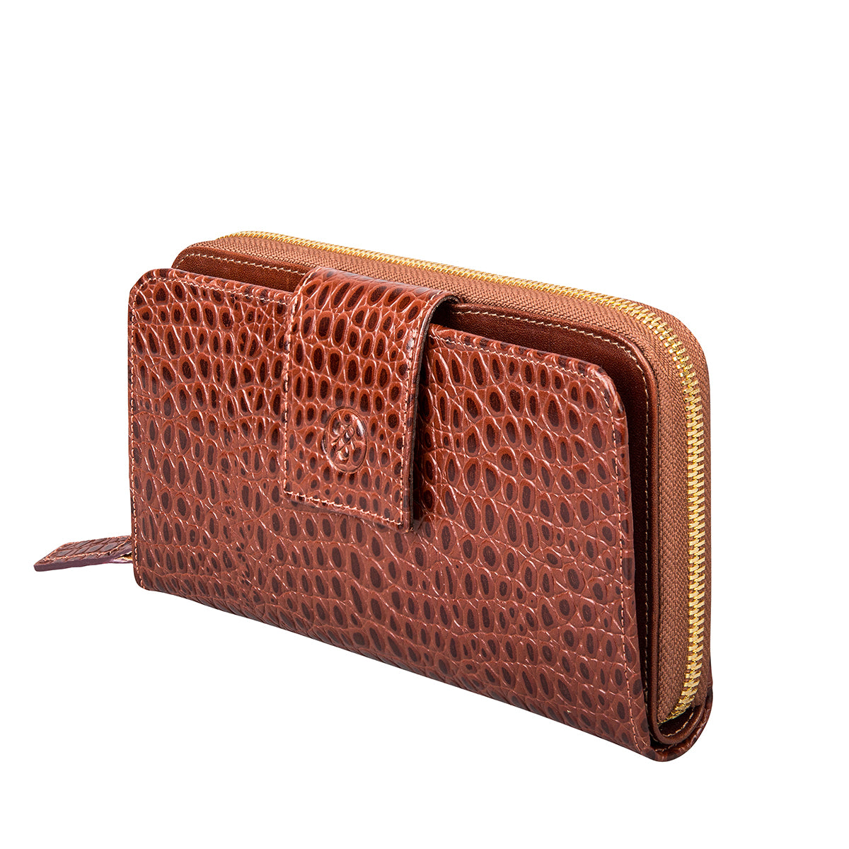 Image 2 of the 'Giorgia' Chestnut Mock Croc Veg-Tanned Leather Zip Purse