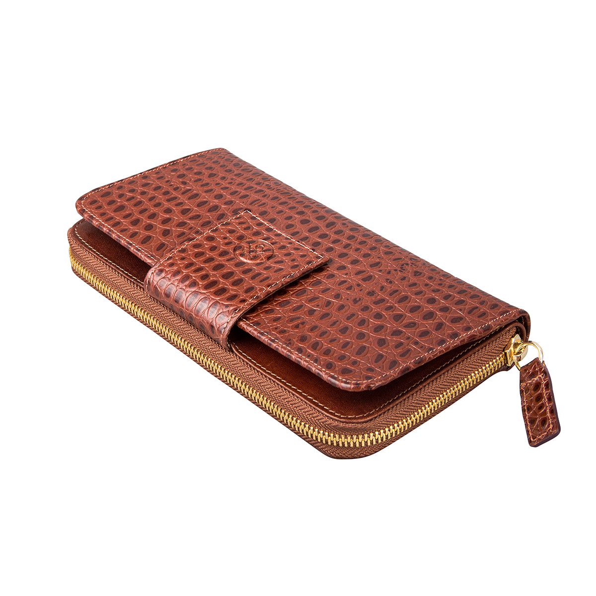 Image 4 of the 'Giorgia' Chestnut Mock Croc Veg-Tanned Leather Zip Purse