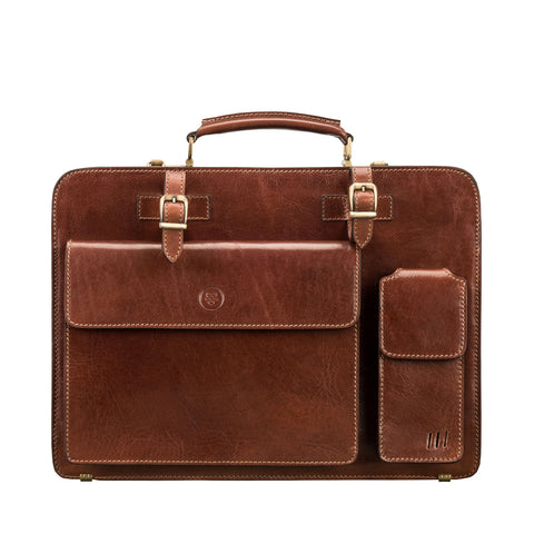 Image 1 of the 'Alanzo' Chestnut Veg-Tanned Leather Briefcase