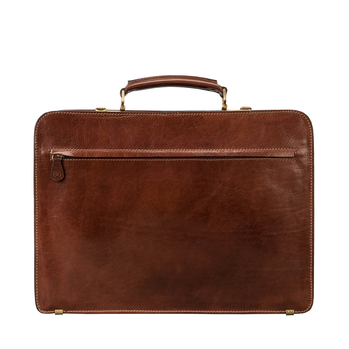 Image 4 of the 'Alanzo' Chestnut Veg-Tanned Leather Briefcase