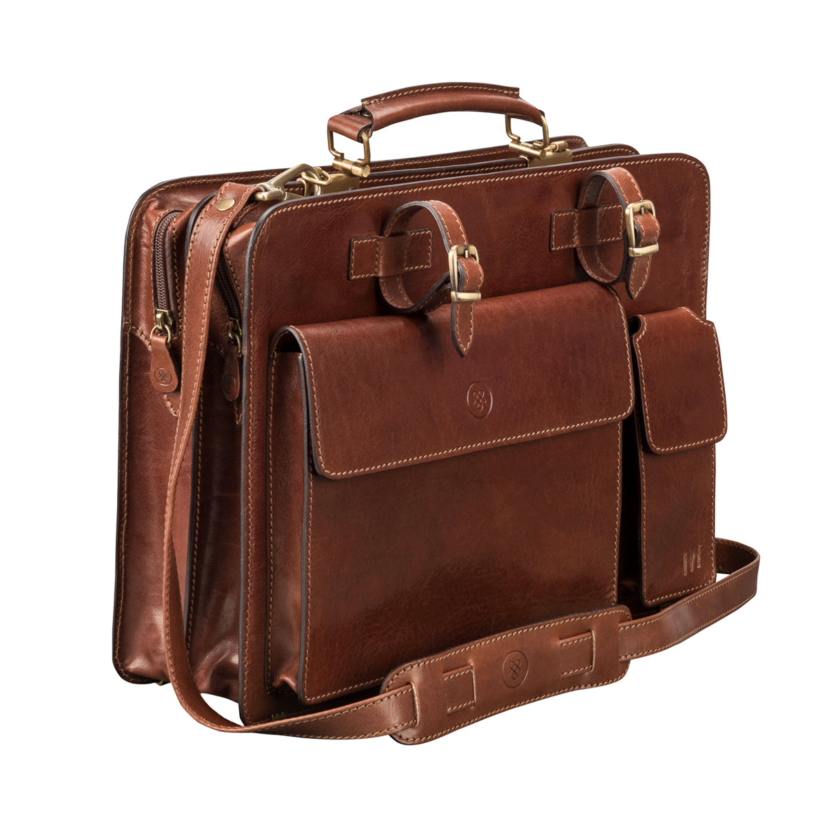 Image 2 of the 'Alanzo' Chestnut Veg-Tanned Leather Briefcase