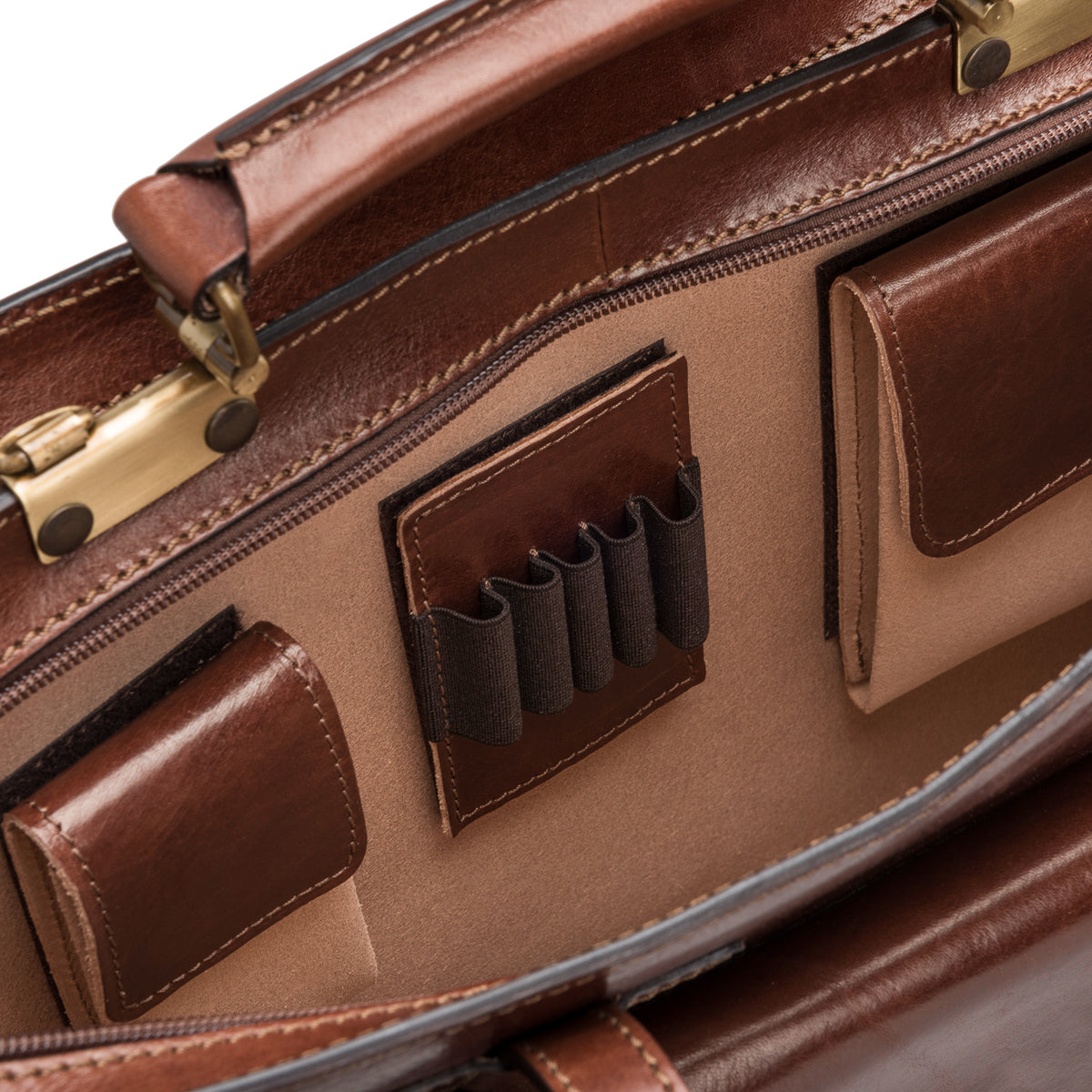 Image 5 of the 'Alanzo' Chestnut Veg-Tanned Leather Briefcase