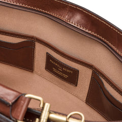Image 6 of the 'Alanzo' Chestnut Veg-Tanned Leather Briefcase