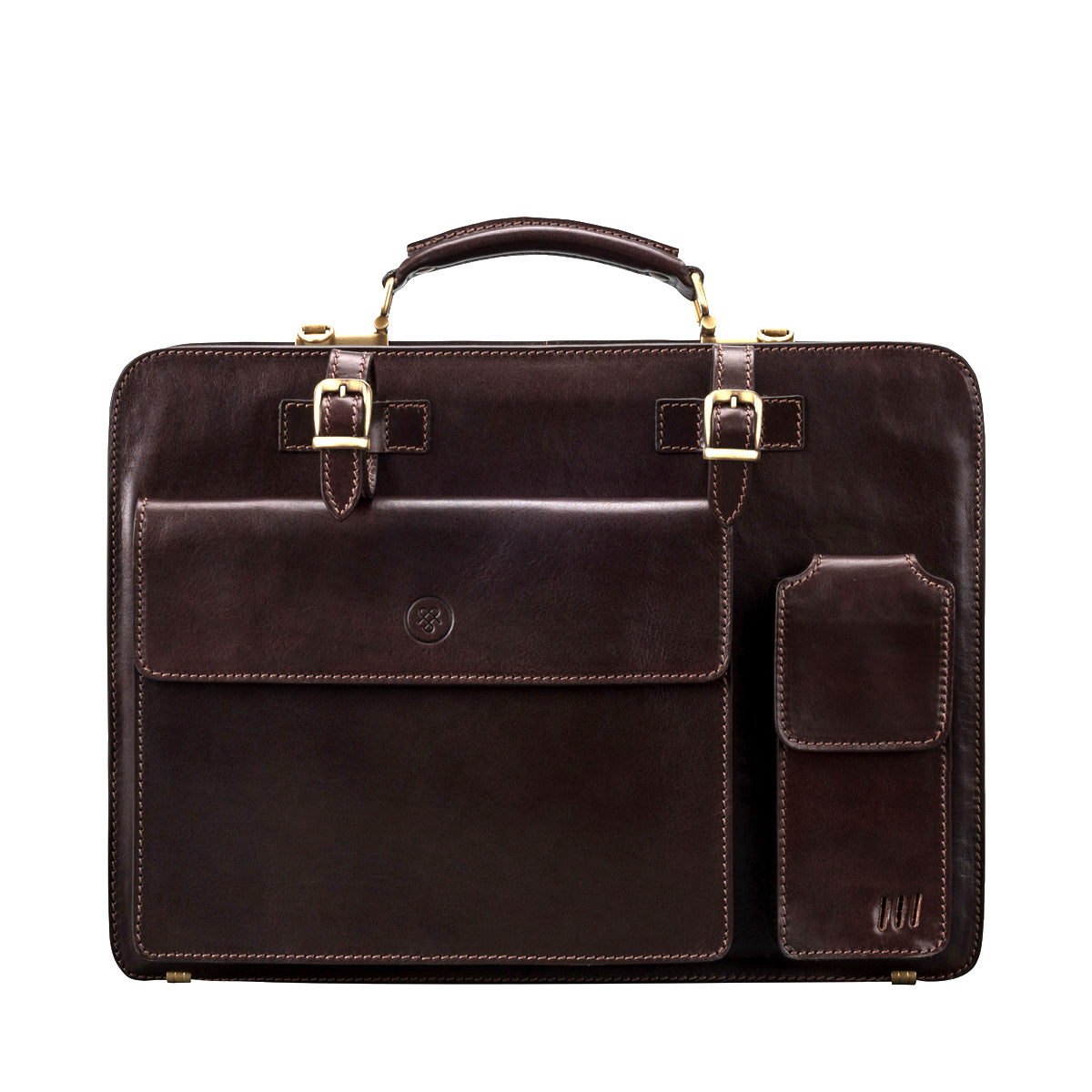 Image 1 of the 'Alanzo' Brown Veg-Tanned Leather Briefcase