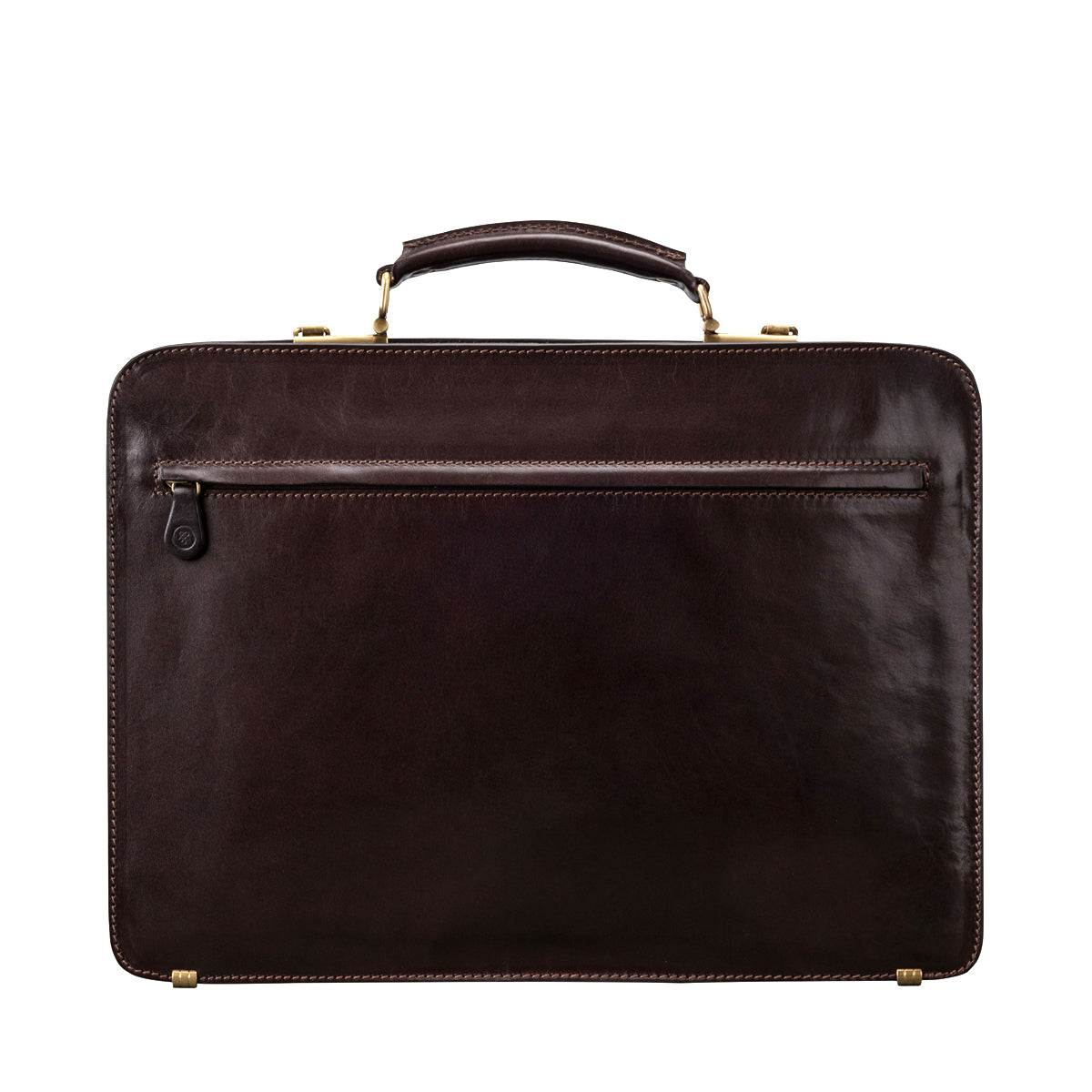 Image 4 of the 'Alanzo' Brown Veg-Tanned Leather Briefcase