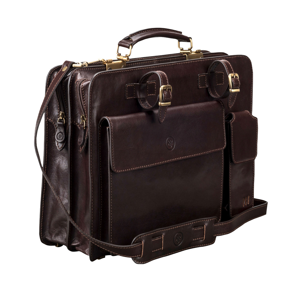 Image 2 of the 'Alanzo' Brown Veg-Tanned Leather Briefcase