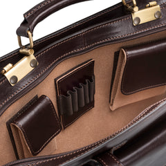 Image 5 of the 'Alanzo' Brown Veg-Tanned Leather Briefcase