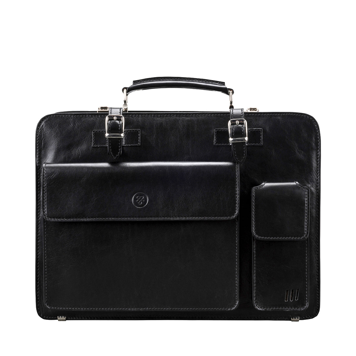 Image 1 of the Alanzo' Black Veg-Tanned Leather Briefcase