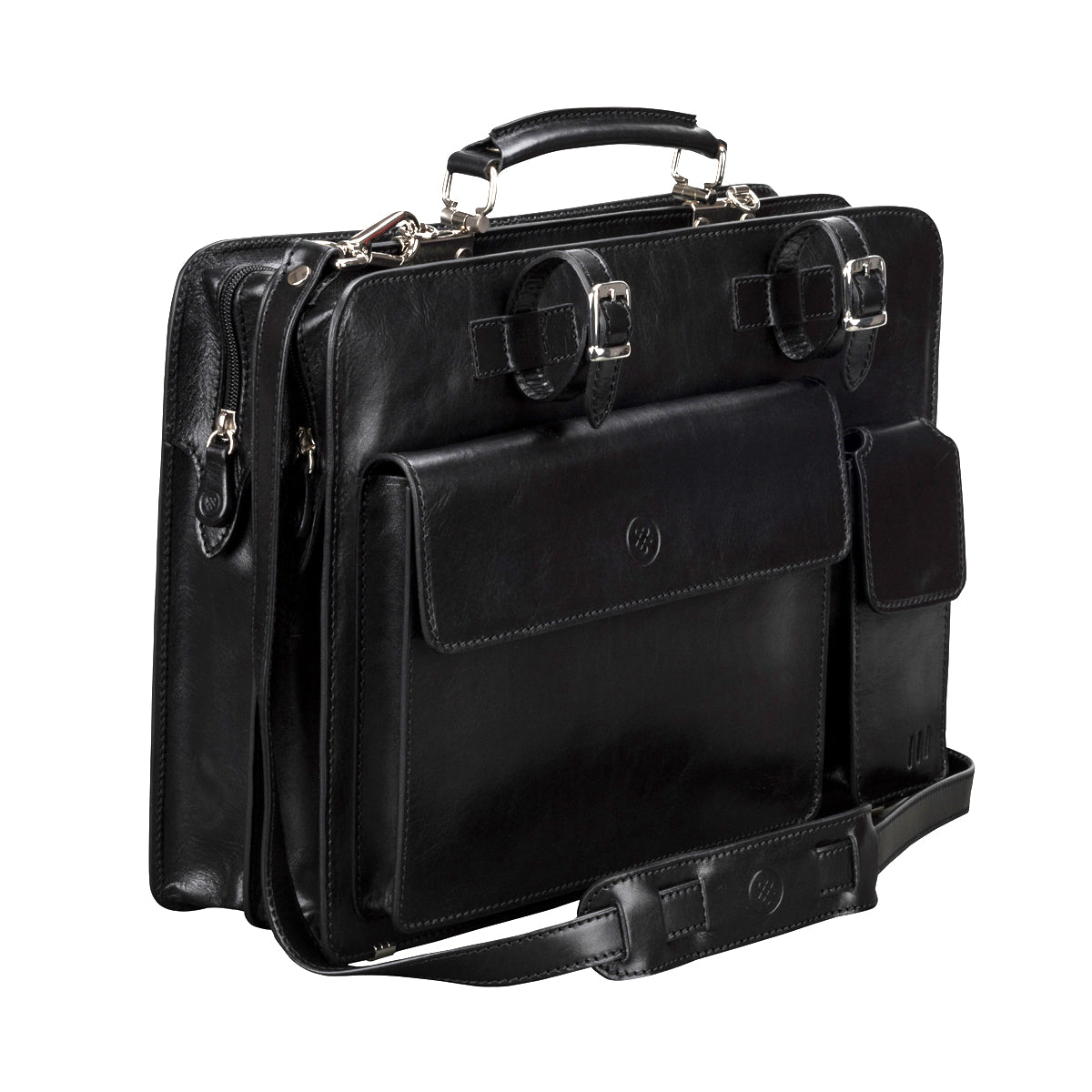 Image 2 of the Alanzo' Black Veg-Tanned Leather Briefcase