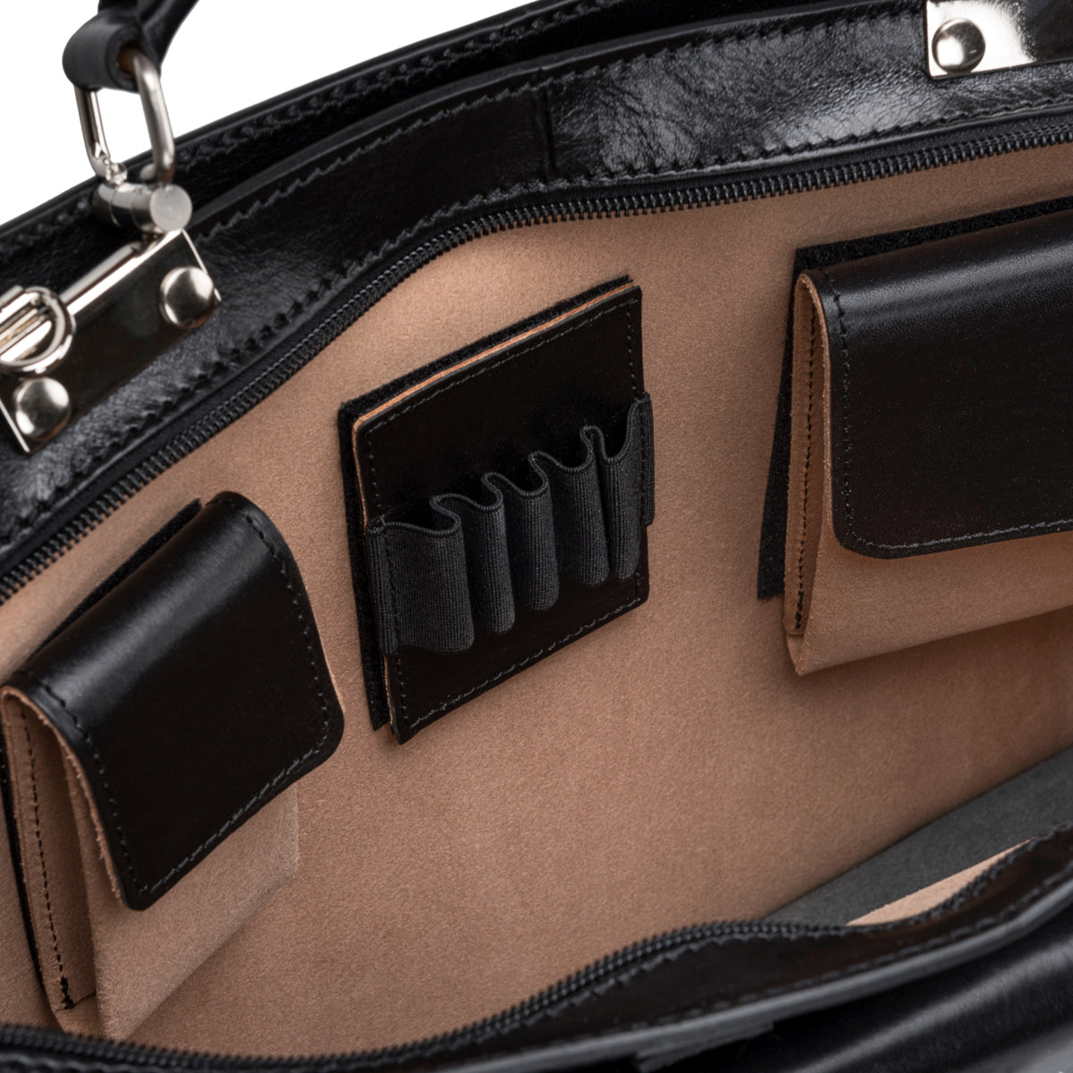 Image 5 of the Alanzo' Black Veg-Tanned Leather Briefcase