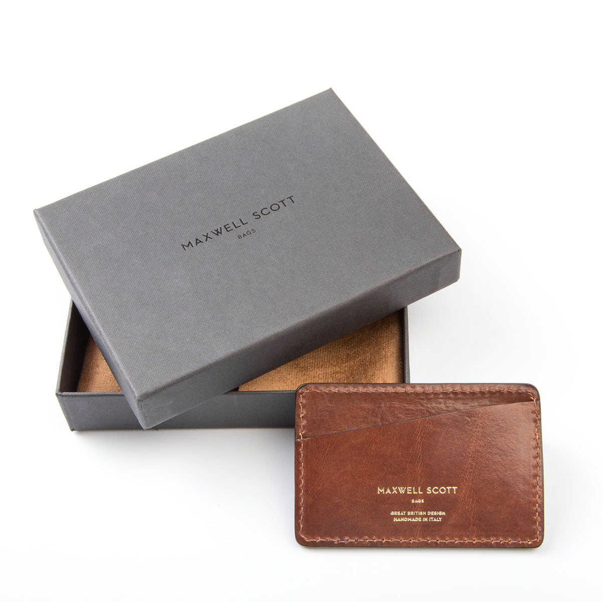 Image 5 of the 'Max' Tan Leather Business Card Holder