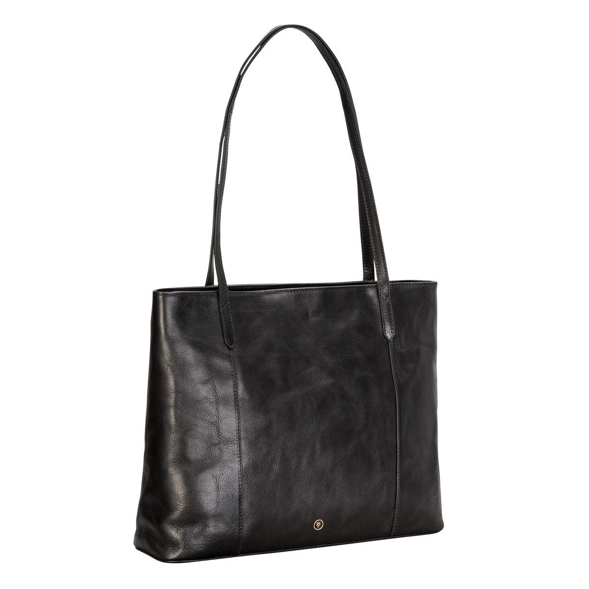 Image 2 of the 'Athenea' Black Veg-Tanned Leather Shopper
