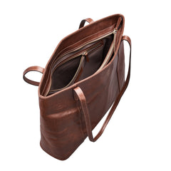Image 5 of the 'Athenea' Chestnut Veg-Tanned Leather Shopper