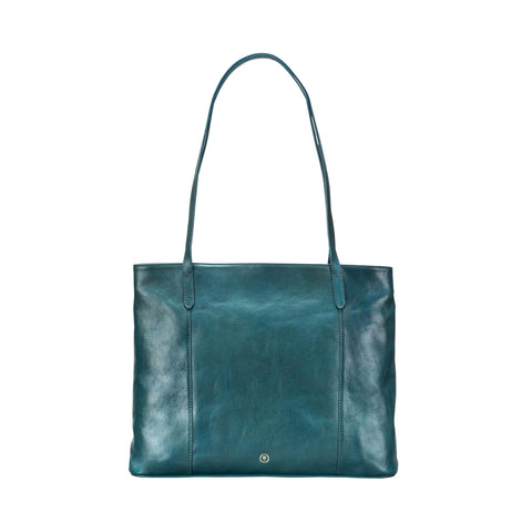 Image 1 of the 'Athenea' Petrol Leather Ladies Tote HandBag