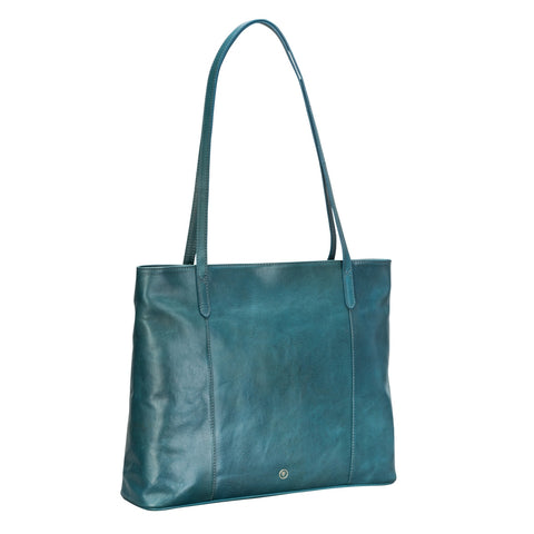 Image 2 of the 'Athenea' Petrol Leather Ladies Tote HandBag