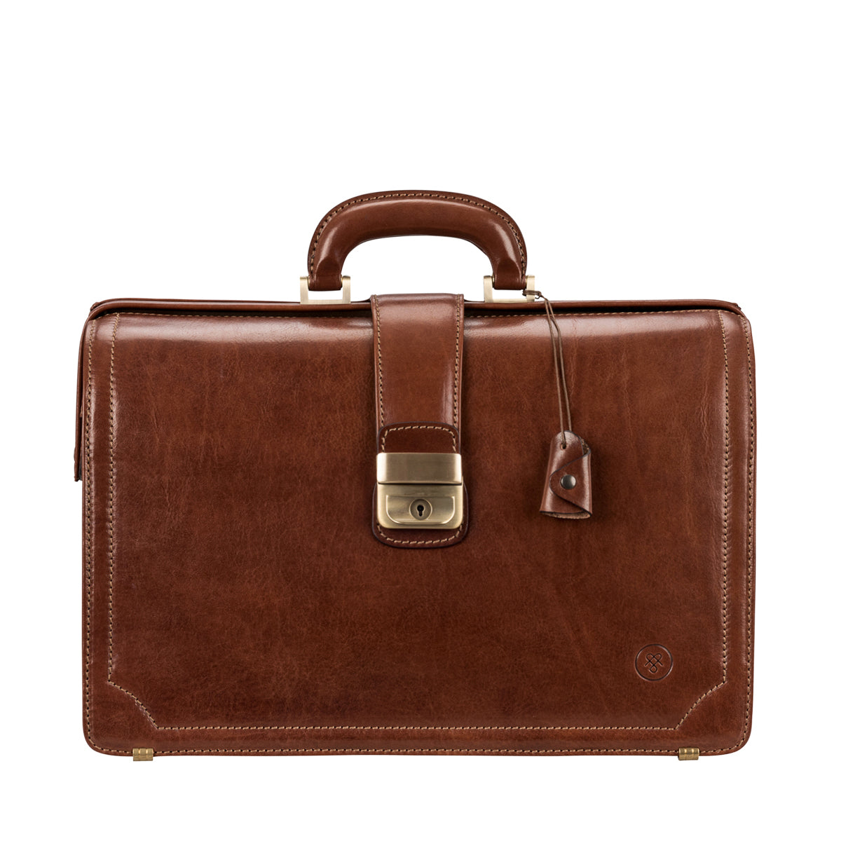 Image 1 of the 'Basilio' Chestnut Veg-Tanned Leather Executive Briefcase