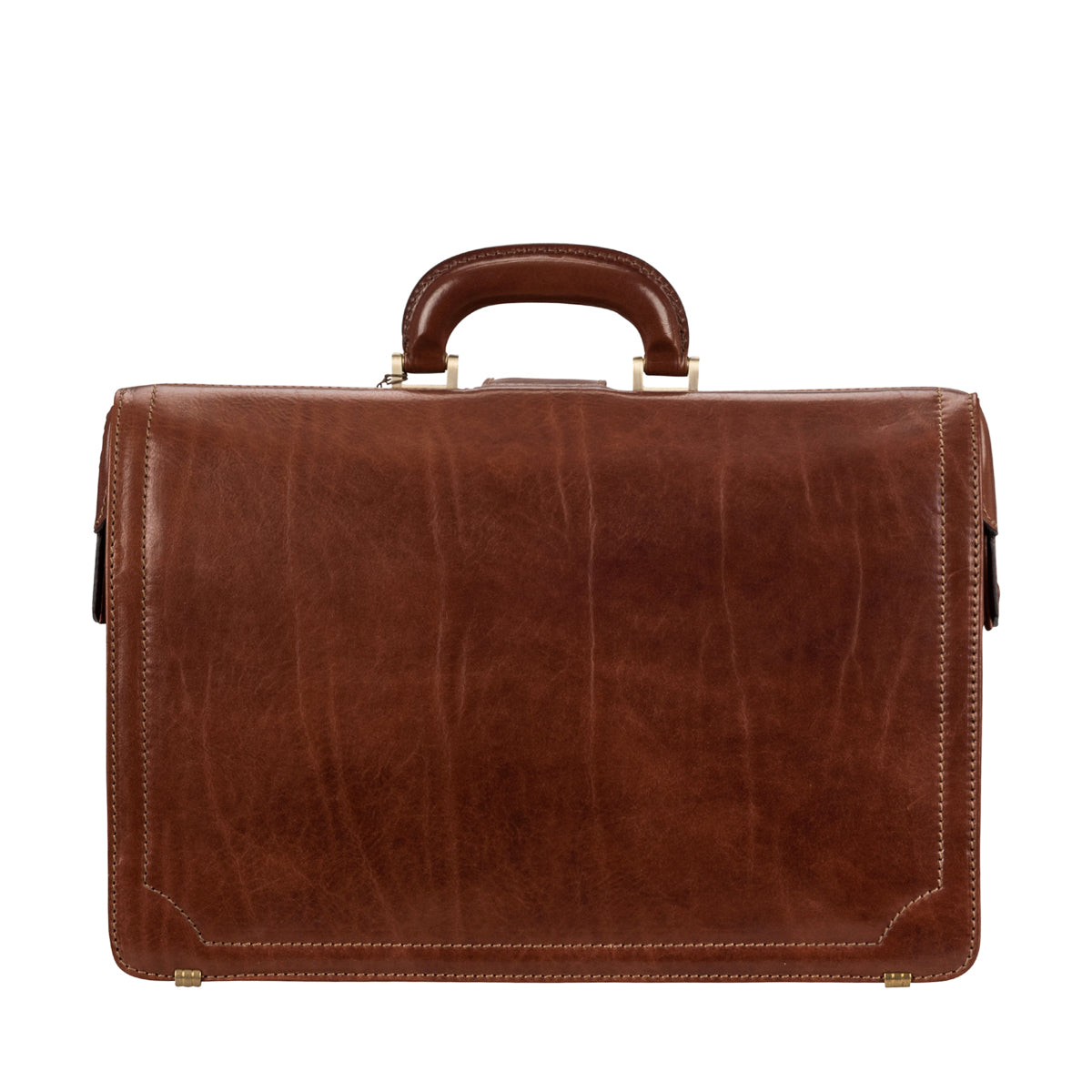 Image 4 of the 'Basilio' Chestnut Veg-Tanned Leather Executive Briefcase