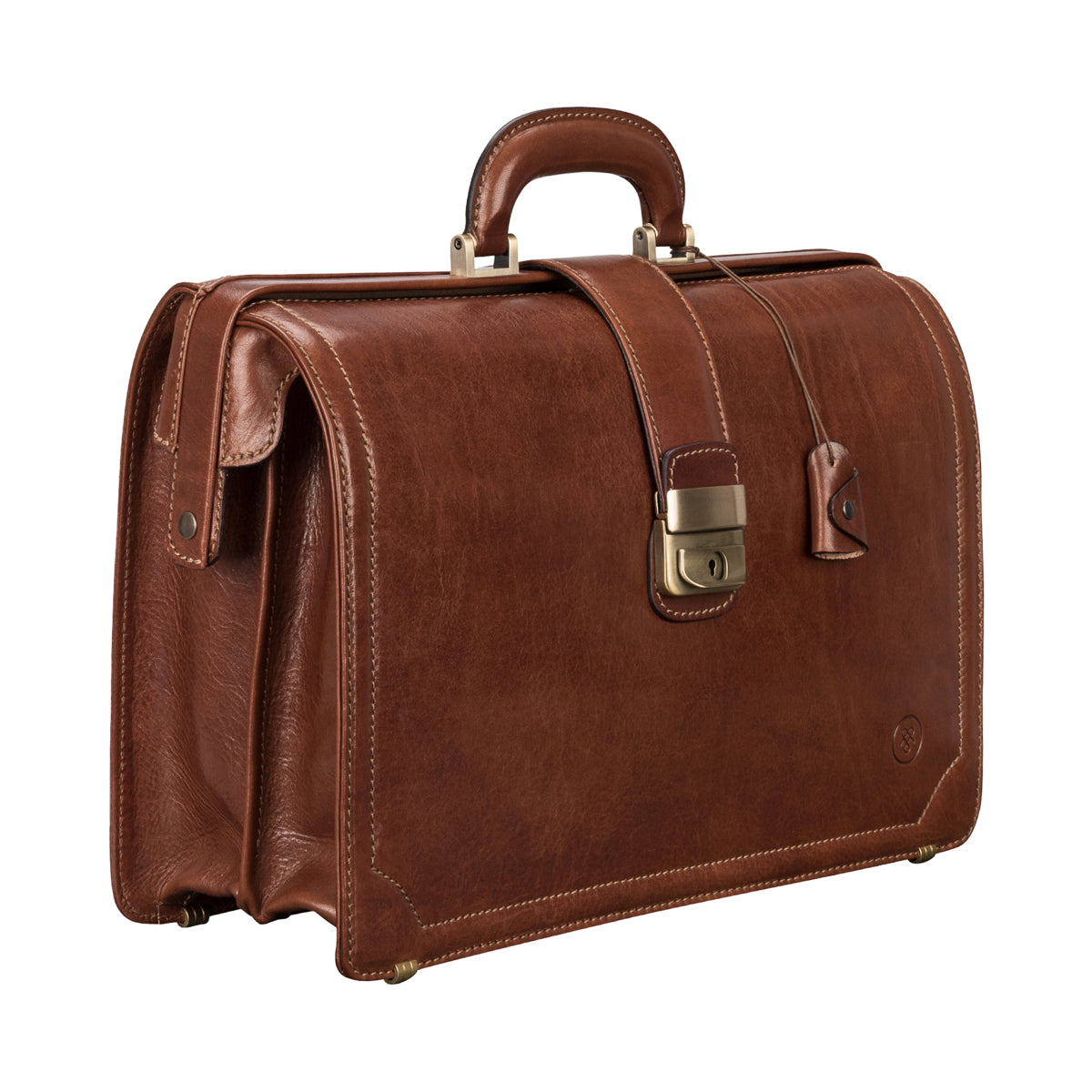 Image 2 of the 'Basilio' Chestnut Veg-Tanned Leather Executive Briefcase
