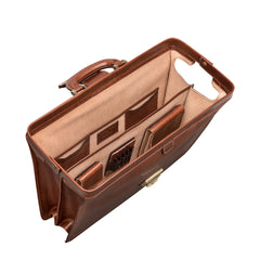 Image 5 of the 'Basilio' Chestnut Veg-Tanned Leather Executive Briefcase
