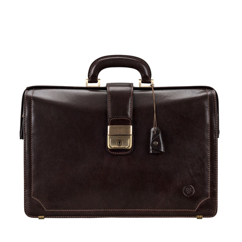 Image 1 of the 'Basilio' Dark Chocolate Veg-Tanned Leather Executive Briefcase