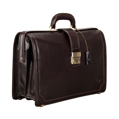 Image 2 of the 'Basilio' Dark Chocolate Veg-Tanned Leather Executive Briefcase