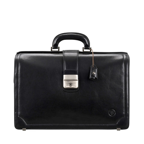 Image 1 of the 'Basilio' Black Veg-Tanned Leather Executive Briefcase