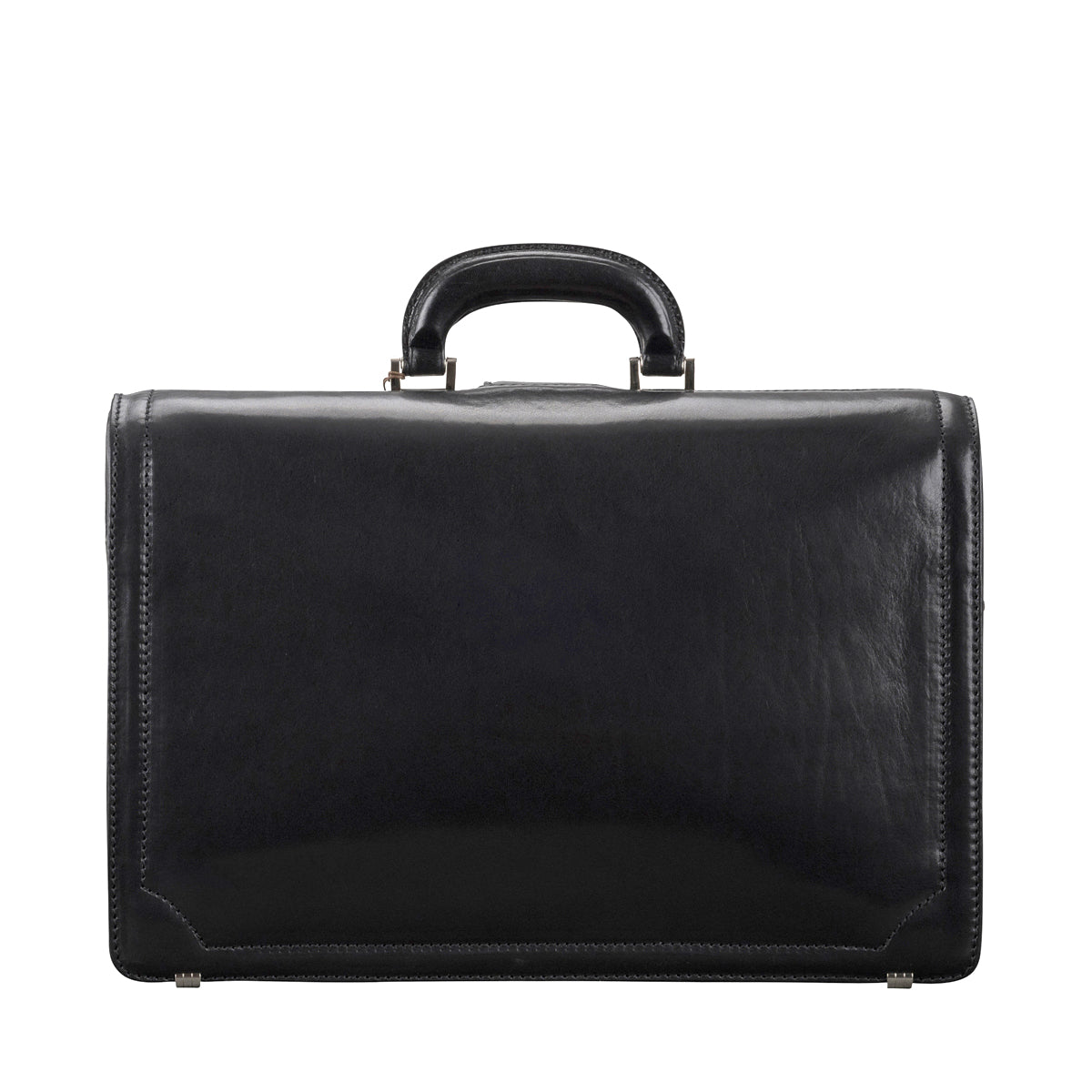 Image 4 of the 'Basilio' Black Veg-Tanned Leather Executive Briefcase