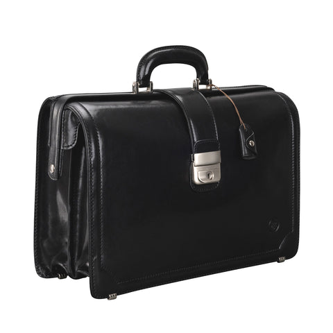 Image 2 of the 'Basilio' Black Veg-Tanned Leather Executive Briefcase