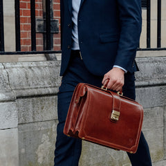 Image 8 of the 'Basilio' Chestnut Veg-Tanned Leather Executive Briefcase