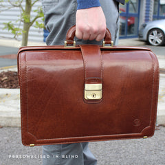 Image 9 of the 'Basilio' Chestnut Veg-Tanned Leather Executive Briefcase