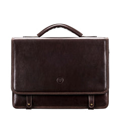 Image 1 of the 'Battista' Brown Veg-Tanned Leather Satchel Briefcase