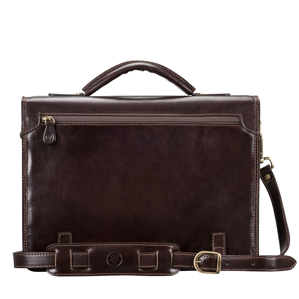 Image 4 of the 'Battista' Brown Veg-Tanned Leather Satchel Briefcase