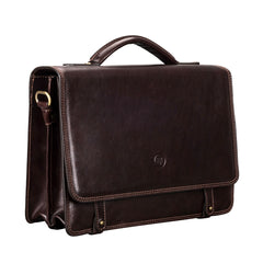 Image 2 of the 'Battista' Brown Veg-Tanned Leather Satchel Briefcase