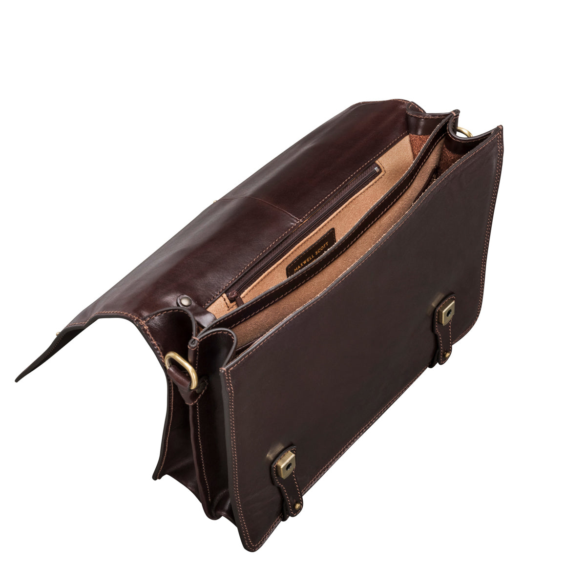 Image 5 of the 'Battista' Brown Veg-Tanned Leather Satchel Briefcase