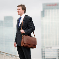 Image 8 of the 'Battista' Brown Veg-Tanned Leather Satchel Briefcase