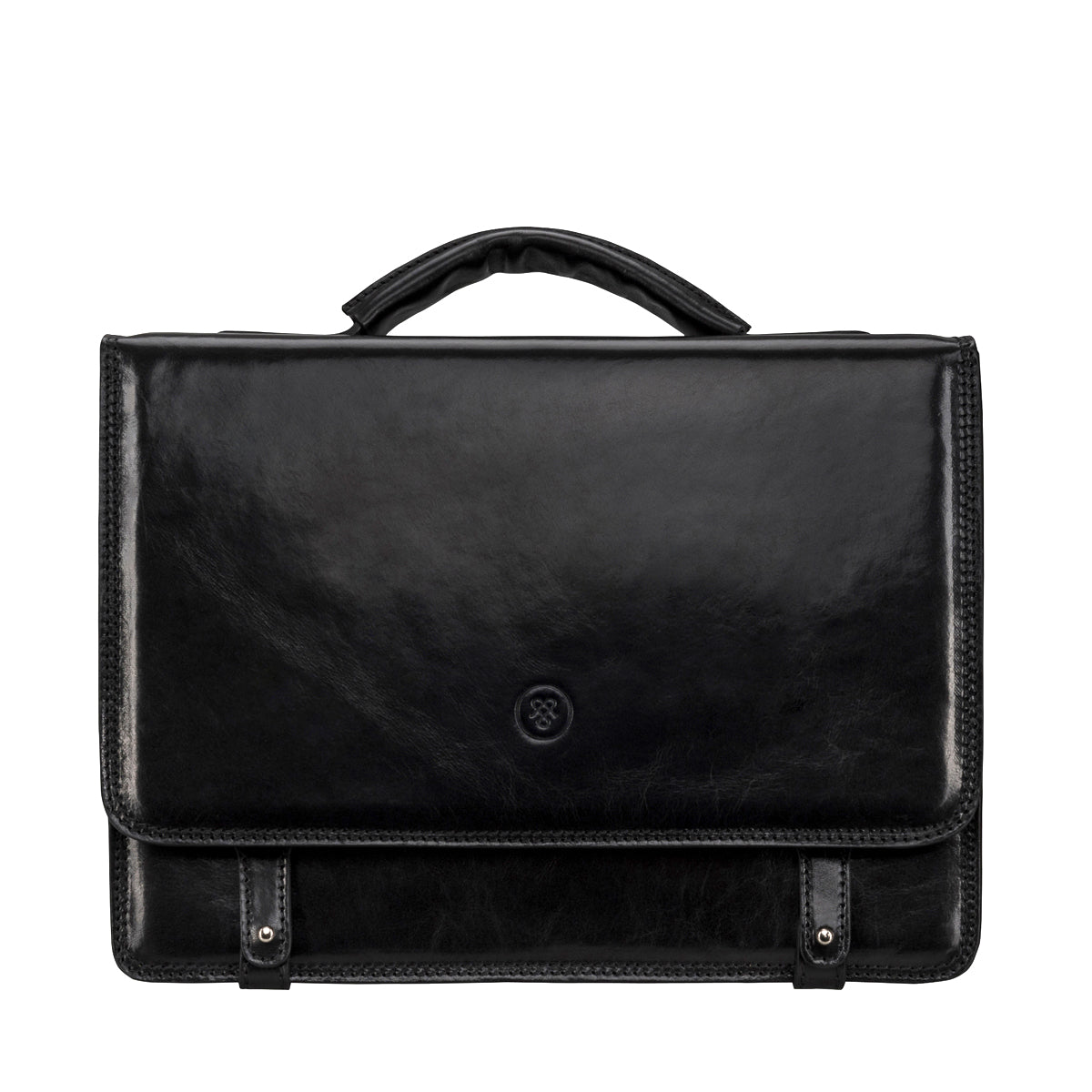 Image 1 of the 'Battista' Black Veg-Tanned Leather Satchel Briefcase