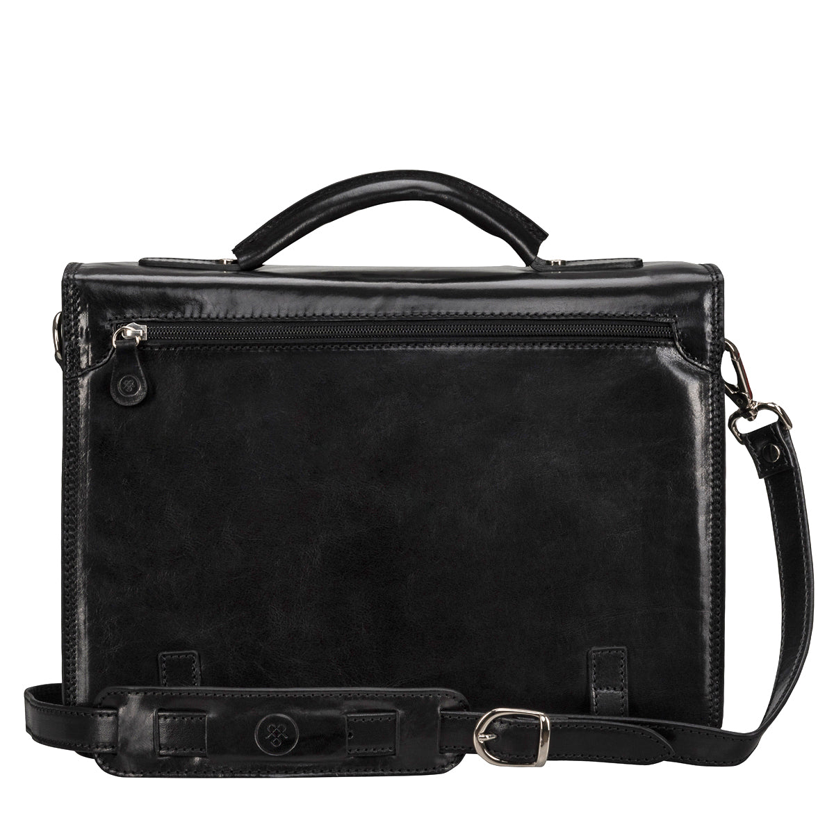 Image 4 of the 'Battista' Black Veg-Tanned Leather Satchel Briefcase