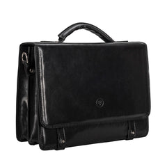 Image 2 of the 'Battista' Black Veg-Tanned Leather Satchel Briefcase