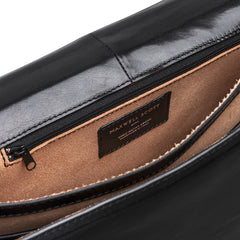 Image 6 of the 'Battista' Black Veg-Tanned Leather Satchel Briefcase