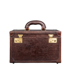 Image 1 of the 'Bellino' Dark Chocolate Veg-Tanned Leather Vanity Case