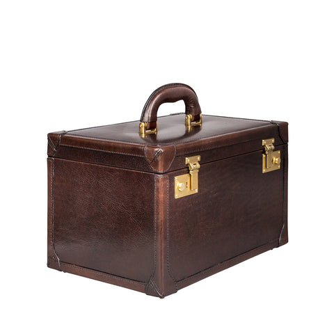 Image 2 of the 'Bellino' Dark Chocolate Veg-Tanned Leather Vanity Case