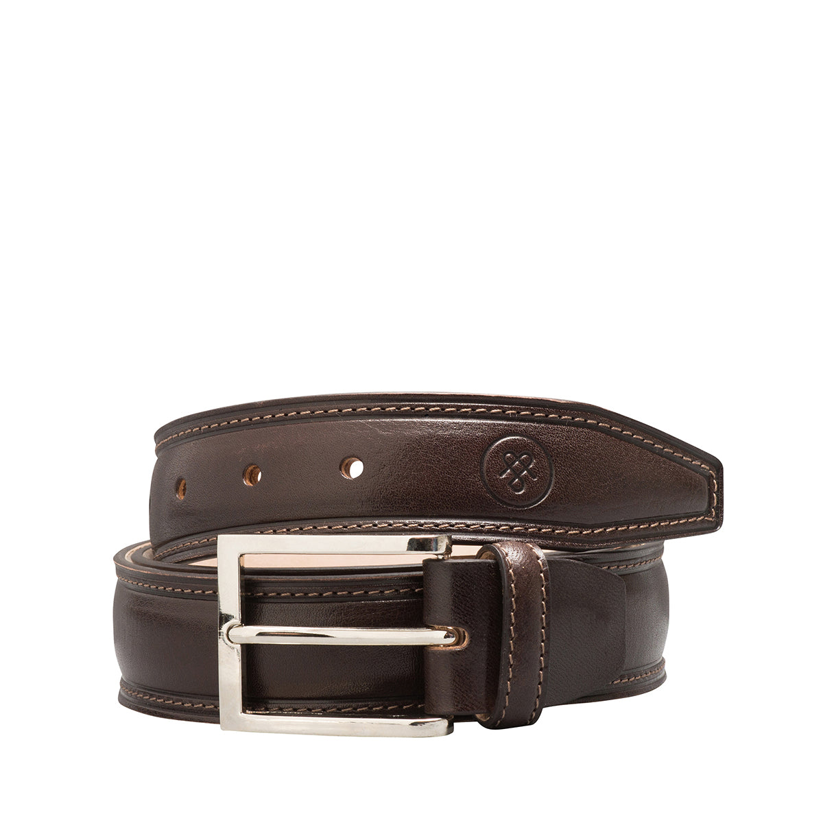 Image 2 of the 'Franco' Chocolate Veg-Tanned Leather Handmade Belt