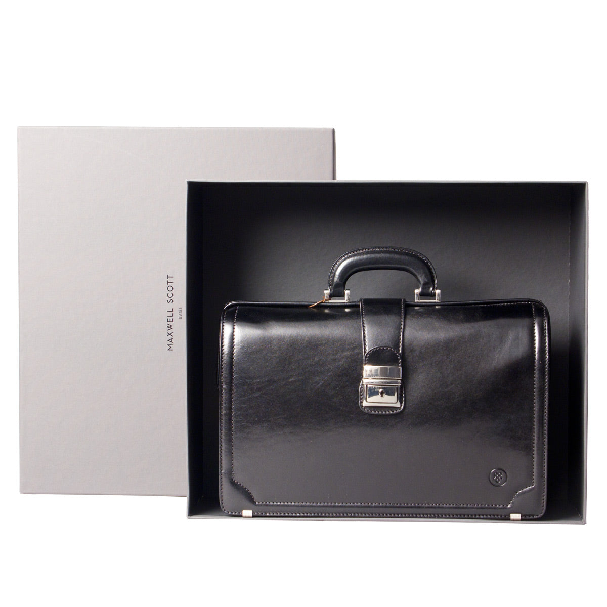 Image 7 of the 'Basilio' Black Veg-Tanned Leather Executive Briefcase