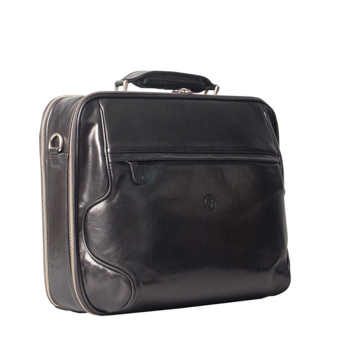 Image 2 of the 'Volterra' Black Veg Tanned Leather Laptop Case